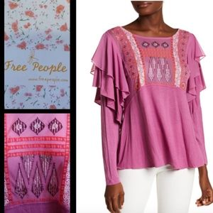 Free People La Cienega Front Embroidery Blouse - M